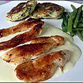 Aiguillettes de poulet au maroilles et galettes de pommes de terre
