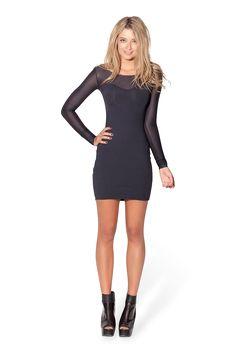 Sheer Top Long Sleeve Matte Dress