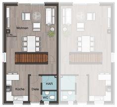 Grundriss Erdgeschoss vom #Doppelhaus Aura 125 | +SimsHäuser ...
