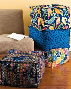 Square Floor Pillows at JoAnn Fabric. With raised seams and a square shape, these pillows are a slightly different take on the popular pouf. Sewing Crafts, Sewing Projects, Diy Crafts, Diy Ottoman, Square Ottoman, Fabric Ottoman, Kids Seating, Extra Seating, Diy Couture