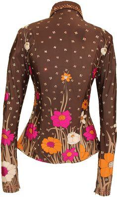 Chocolate Floral Border Print :: Horse Show Shirts :: Show Me Again