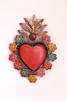 Tin sacred heart Mexican wall art multicolored flowers flora // unique sweet special// rainbow red.