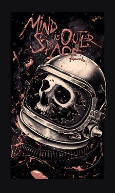 The Mind is Outer Space, Skull Astronaut, Alex Wezta, illustration. Astronaut Tattoo, Horror Artwork, Desenho Tattoo, Skull Design, Design Art, Skull And Bones, Sci Fi Art, New Words, Skull Art