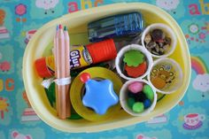 Bento box mini-art kits. Customize them by craft--collage, painting, etc. Perfect to throw in the girls' go-bags when we're going to be out all day or traveling.