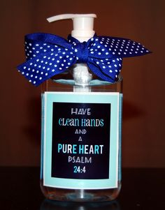 Re-Label: Clean Hands and a Pure Heart PS 24:4 - printable in pink and blue
