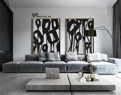 Set of 2 Flower Painting Large Canvas Wall Art Set of 2 | Etsy Abstract Animal Art, Abstract Landscape Painting, Abstract Trees, Black And White Painting, Black White, Large Canvas Wall Art, Minimalist Painting, Apartment Interior, Dream Apartment
