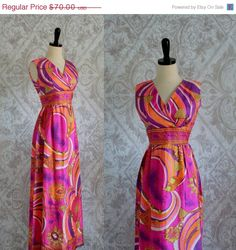 Vintage 1970s Maxi Dress 70s Long Pink Silk Dress Mod Abstract Pucci Inspired Sleeveless Womens Maxi Size Small Medium by SassySisterVintage on Etsy https://www.etsy.com/listing/208789393/vintage-1970s-maxi-dress-70s-long-pink