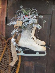 vintage ice skates- repurposed
