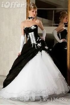 Brand New BLACK WHITE Corset Wedding Dress/Party Gown. love the tie on the front! would match the knee high converse. too much tulle though.