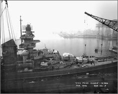 (Former German) heavy cruiser USS Prinz Eugen (aka IX-300) moored at Philadelphia Naval Shipyard, February 1946.