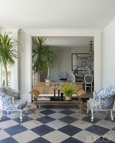 white/blue checkerboard floors