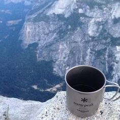New series: Coffee in the wilderness. It's the best way to start the day. Here Paulina sipped coffee at dawn at the top of #halfdome #yosemite #rei1440project