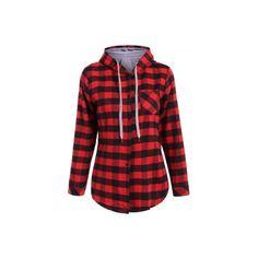 Long Sleeve Hooded Plaid Shirt ($14) ❤ liked on Polyvore featuring tops, long sleeve plaid shirt, red plaid shirt, red shirt, red top and plaid shirts