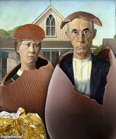 American Gothic Easter by Luciano Morelli American Gothic Painting, American Gothic House, Grant Wood American Gothic, American Gothic Parody, American Art, Mona Lisa, Gothic Pictures, Art Grants, Famous Artwork