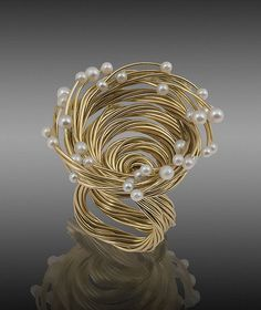 Submission by Alan Revere for the 2007 spiral American Jewelry Design Council Project Statement Jewelry, Pearl Jewelry, Jewelry Art, Beaded Jewelry, Fine Jewelry, Jewelry Design, Fashion Jewelry, Jewelry Making, Unusual Rings