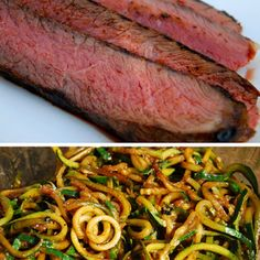 Paleo Balsamic Marinated London Broil Steaks with Pan Fried Zucchini Noodles  www.cleaneatsinthezoo.com  For more great paleo recipes check out my Facebook page called: Gluten Free Simplified