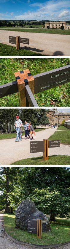 Chatsworth House signage detailed images, wayfinding signage design by ABG