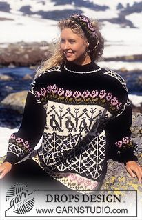 DROPS Sweater in Alaska with roses and falcons and headband ~ DROPS Design