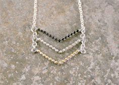 Black Silver Gold Triple Chevron Necklace in Silver #etsy #handmadejewelry #fashion