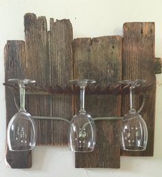 Barn wood/ rake wine glass rack