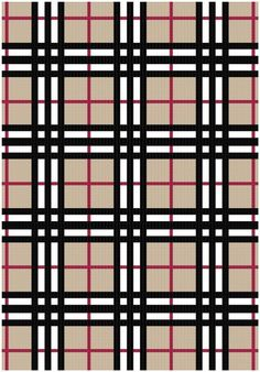 Plaid graph Afghan Pattern-Crochet Pattern - Do in tapestry? Could always make in panels and join. Probably easiest to make a full tan blanket and add black and red stripes on the top.