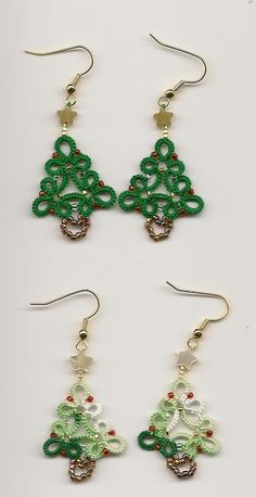 Tatted Christmas tree earrings - pattern by Brenda Bonilla and the pattern was in an old Knots Newsletter