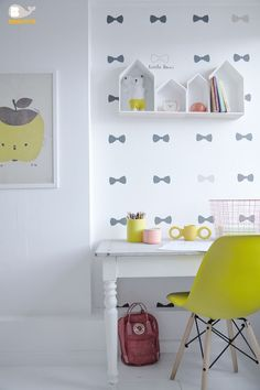 mommo design: DESKS FOR KIDS // bow tie wallpaper, apple green chair, white walls