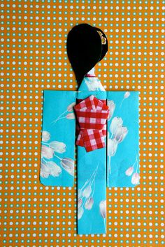 Aqua Blue Kimono Paper Doll with Tulips