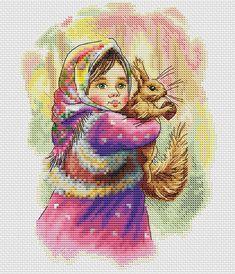 Katya. Cross Stitch Pattern by Kseniya Adonyeva. Digital download. #crossstitch #xstitch #pattern #girls #DIY