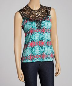 Look at this #zulilyfind! Turquoise & Black Crocheted Sleeveless Top #zulilyfinds Idea for all those vintage yokes I have