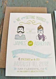 'he loves glasses. she loves 'staches.' ♥ bohemian wedding invitation by wide eyes design #handmade #wedding #invitations