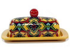 "Yellow, Green & Red Talavera Style Butter Dish -- ""Starburst Flower"""