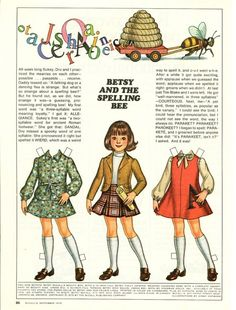 Vintage September 1975 Magazine Paper Doll Betsy McCall and the Spelling Bee* For lots of free paper dolls International Paper Doll Society #ArielleGabriel #ArtrA thanks to Pinterest paper doll collectors for sharing *