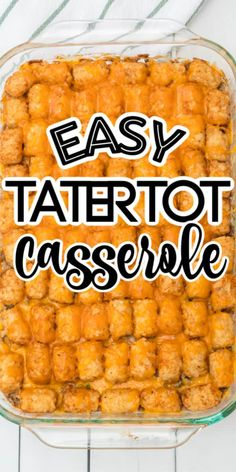 Tater tot Casserole is one-dish comfort food at it's finest. Baked with frozen tater tots, ground beef, cream of mushroom soup, cheese, and vegetables, this hearty and quick recipe is a delicious, simple meal that is perfect for busy nights. You'll love the rich taste and how easy this recipe is to make! Kid-friendly dinner where they don't even know they are getting their vegetables Tater Tots, Easy Tater Tot Casserole, Ground Beef Casserole, How To Make Tater Tot Casserole Recipe, Tater Tot Bake, Cowboy Casserole, Hamburger Casserole, Chicken Casserole, Breakfast Casserole