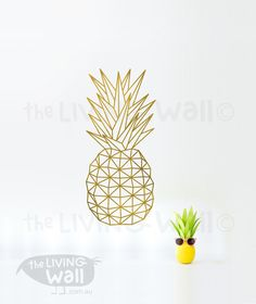 Pineapple Wall Decal, Geometric Pineapple Vinyl Decal, Pineapple Home Decor…