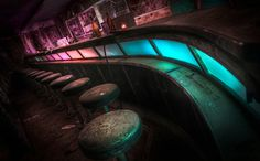 Have a drink ! - The old retro bar in the abandoned Pines Hotel. Illuminated using flashlights and colored bottles