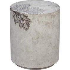 McGuire Furniture: Medium Round Cement Stool: No. 976 Sonoma coastal vegetation inspired the Medium Round Cement Stool.  Heracleum, a perennial herb native to northern California, is pressed into cast concrete before it fully cures, creating a one-of-a-kind print.  Each stool has a distinctive, fossil-like pattern; the base color is a mottled cool grey, leaves range from a medium grey/brown to a deep bronze.