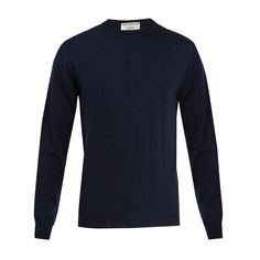 Éditions M.R Stanislas wool sweater ($163) ❤ liked on Polyvore featuring men's fashion, men's clothing, men's sweaters, navy, mens lightweight sweaters, mens crewneck sweaters, mens woolen sweaters, mens wool sweaters and men's wool crew neck sweaters