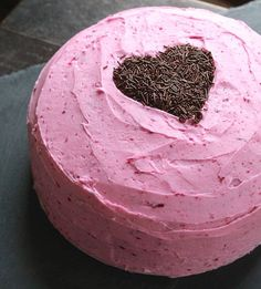 Gluten-Free Chocolate Beet Cake (buttercream frosting made naturally pink from a little of the beet stain) #ValentinesDay