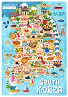 Korea Map Illustration : South Korea map illustration illustrated by Liv Wan Illustration. I created this illustrated map of South Korea as I went there when I was young and loved it. Plus people have asked for a map Seoul Korea Travel, South Korea Seoul, Korean Words Learning, Korean Language Learning, Korea Map, Food Map, Korean Lessons, Suwon, Thinking Day