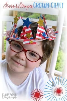 An Easy 4th of July Craft for Kids - A Patriotic Stars and Stripes Crown - at B-Inspired Mama