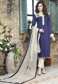 Purple and Cream Cotton Silk Party Wear Suit 7850/-