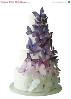 ON SALE Ombre Edible Butterflies in Purple  by incrEDIBLEtoppers, $26.96