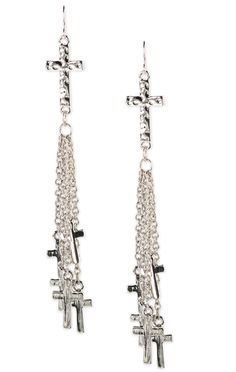 Deb Shops #cross #earrings with chain fringe