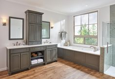 The Masterpiece® Rockwell in Greyloft with Sable Glaze Traditional Doors, Traditional Bathroom, Grey Cabinets, The Masterpiece, Bathroom Inspiration, Bathroom Ideas, Small House Plans, Drawer Fronts, White Walls