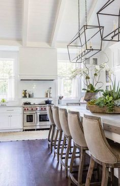 New Kitchen Sink Lighting Fixture Butcher Blocks Ideas Kitchen Sink Lighting, Kitchen Sink Window, Stools For Kitchen Island, Counter Stools, Kitchen Wood, Kitchen Plants, Kitchen Ideas, Kitchen White, Wood Counter