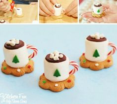 Christmas Treats - Hot Cocoa Marshmallow Cookie Cups - Kitchen Fun With My 3 Sons Best Christmas Recipes, Christmas Snacks, Christmas Cooking, Christmas Goodies, Christmas Candy, Holiday Treats, Christmas Crafts, Xmas, Christmas Tea Party
