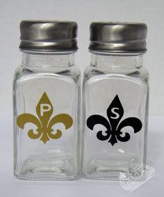Fleur de Lis Glass Salt & Pepper Shakers by CraftyCajunCrafts, $8.00