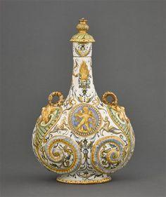 Flask with the emblem of Alfonso II d'Este, Duke of Ferrare, Louvre Museum, Paris. #grotesques #art #ceramic #antique #MarcMaison #iconography