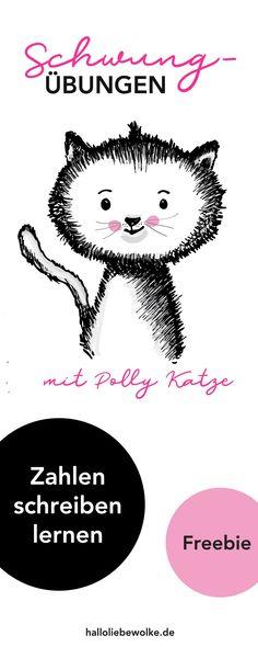 """Katze Polly zeigt euch erste Schwungübungen für Kinder in Vorschule und Grundschule, um Zahlen schreiben zu lernen. Eine kostenlose Druckvorlage mit Ausmalbildern vom Mamablog """"Hallo liebe Wolke"""". #freebie #malvorlage #lernen"""